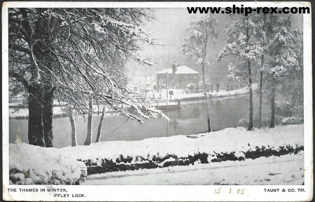 Iffley Lock, Oxfordshire, in winter - 1905 postcard
